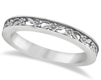 Sculptural Eternity Flower Design Wedding Band in 14k White Gold ****Special for you*****-ENS4302-1109