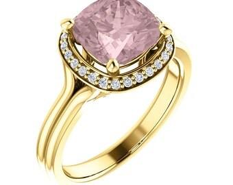 Natural AAA 8mm Cushion  Morganite  Solid 14K Yellow  Gold Diamond halo Engagement Ring Set-ST82767