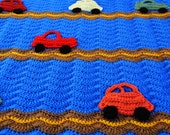 Race car crocheted baby boy afghan - handmade colorful and fun - Ready to ship