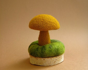 Needle Felted Pin Cushion Christmas gift ideas Dressmaker's tools  Gift for her Fall Woodland Home decor Mushroom in moss