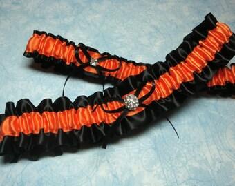 Black and Orange Satin Garter Set