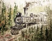 Train In The Woods, Print of Original Watercolor Painting, watercolor art, watercolor print, kids wall art, railroad, train, landscape.