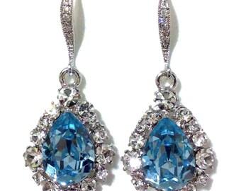 Something Blue Aqua Earrings, Bridesmaid Earrings, March Birthstone Aquamarine Swarovski Teardrop Bridal Party Jewelry, BIJOUX