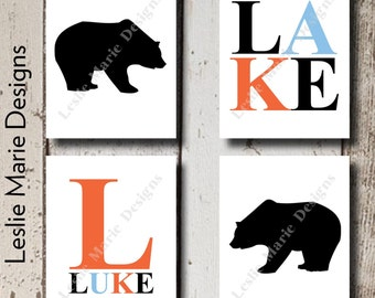 WOODLAND Nursery Wall Art - Nursery Cabin - Black Bears