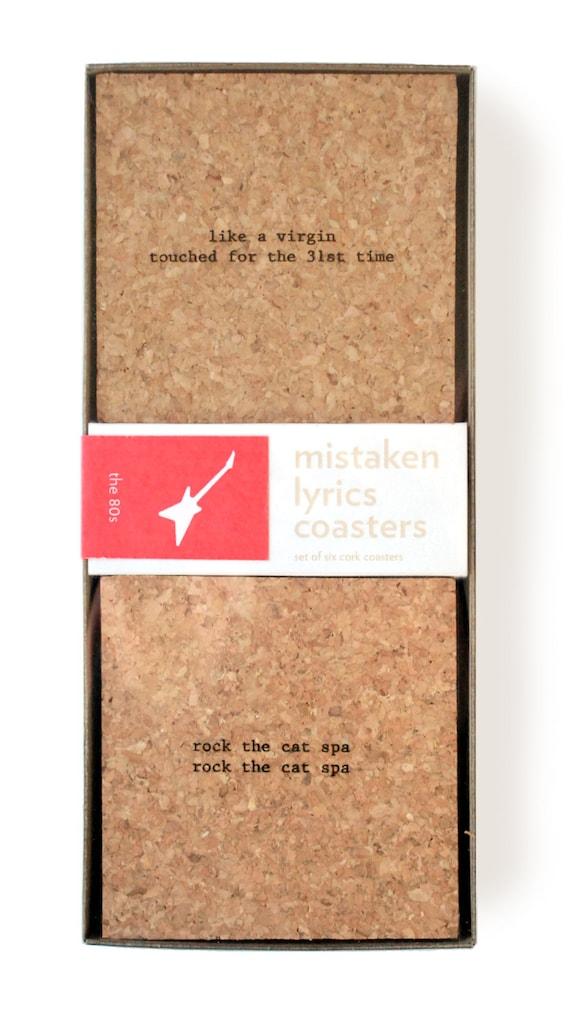 The 80s mistaken lyrics coasters for Bright beam goods