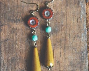 colorful boho teardrop earrings.