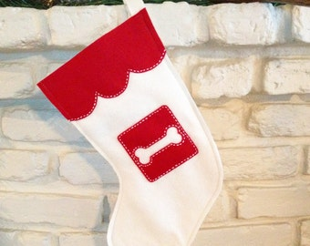 Christmas Stocking, Red and White Dog Bone-READY TO SHIP!