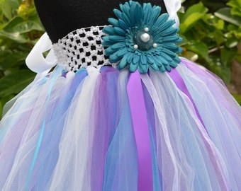 Purple, Turquoise Teal, White Flower Girl Tulle Tutu Dress for Weddings, Bridal, Special Occasions