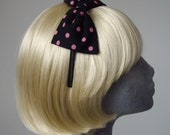 Black Headband- Black-Pink Polka Dot Bow Headband