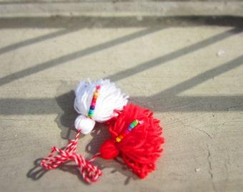 Martenitza Multicolored Beads Brooch. Baba Marta Red White. Rainbow Spring Joy Pin. Martenica Bulgrian Fiber Art by dodofit on Etsy