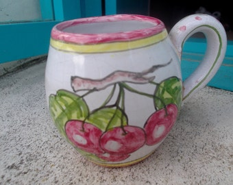 VINTAGE CERAMIC MUG, Portuguese, handpainted, cherries, housewares, home decor