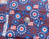 USA patriotic fabric 42x7  remnant - cotton - woven