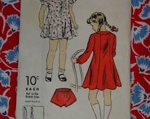 Vintage Pattern c.1940's DuBarry No.1724 Girls Dress & Panties, Size 4 Uncut