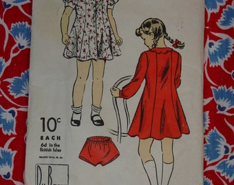 Vintage Pattern c.1940's DuBarry No.1724 Girls Dress & Panties, Size 4 Uncut