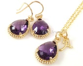Amethyst Jewelry Set - Gold Trim Purple Teardrop Bridesmaids Necklace and Earrings Personalized Initial Letter Alphabet Necklace Gift
