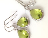 Peridot Jewelry Set - Silver Fern Green Bridesmaids Set - Apple Green August Birthstone Personalized Necklace and Earrings