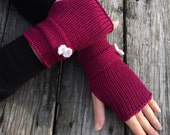 Knit Gloves, Fingerless Gloves, Gloves with Bow, Wrist Warmers, Bow Accent Gloves, Bow Gloves, Hand Warmers, Knit gloves with bow