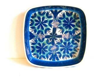 Vintage Royal Copenhagen fajance dish, square dish, Danish modern design, vintage hand painted porcelain, Marianne Johnson