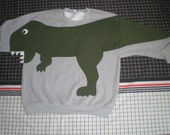 T REX DINOSAUR sweatshirt, adult unisex sizes small, medium, large and x large, CUSTOM to your size