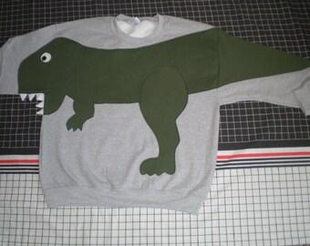 T REX DINOSAUR sweatshirt, adult unisex sizes small, medium, large and x large, CUSTOM to your size