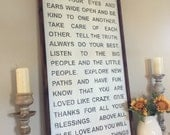 Extra Large 24x48 - Framed Sign - All hand painted and built - We can do any saying or colors