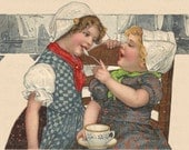 Dutch Sisters Tea Time Old Fashioned Images 600 DPI - Vintage Imagery - Digital Art - Scrapbooking, Card Making & Crafts - INSTANT DOWNLOAD