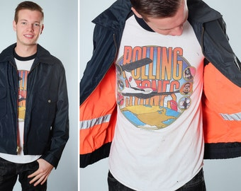 Vintage Navy & Neon Orange Men's Police Jacket | Small Size S Menswear Guys Unisex Boyfriend Coat | Nylon Retro | 1980s Reversible Cop