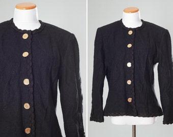SALE Size 14 Women's Saks Fifth Avenue Sweater Cardigan   Black Knitted Sweater   Bouclé   Large Gold Buttons Tandem Patientia Vincit   14R