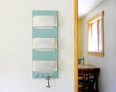 RUE: modern wall mounted 3 slot mail organizer with key hooks in turquoise for home office organization to get organized