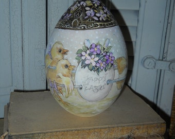 Large Wood Hand Painted Easter Egg OOAK Original Easter Egg Baby Chicks Rabbits Egg Basket Violets Gold Filigree Top And Violets Collectible