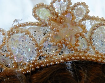 Vintage 1950s pearl sequined wedding head peice crown tiara renaissance wedding