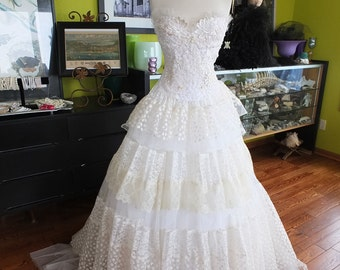 Handmade Lace wedding dress ballgown corset custom wedding gown