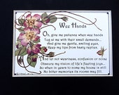 Childrens Vintage Verse Repro Pressed Flowers Matted Baby Mother Gift Parenting