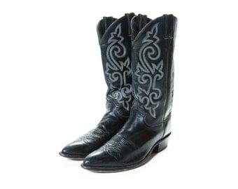 JUSTIN Black Cowboy Boots Men's Size 10 .5