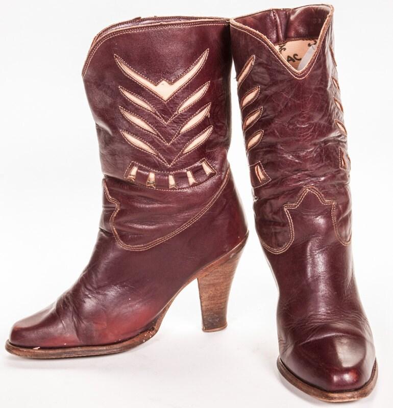 high heel s cowboy boots size 8 by metropolisnycvintage