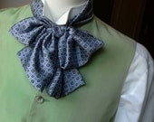 Floppy Bow Tie - mens - self tie - just for men - pale blue with small motif pattern - Bagzetoile handmade  mens bowties