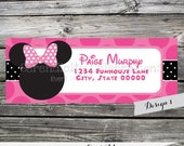 Set of 12 Personalized Printed Address Labels -Girl Mouse -Return Address Labels -Sticker -Mailing Label -Birthday -Baby Shower