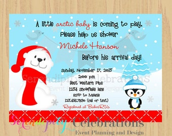 12 Printed Invitations By Serendipity Celebrations -Penguin and Polar Bear -Birthday -Baby Shower -Printing Service