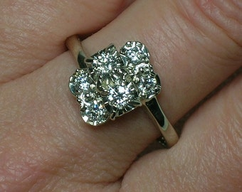Diamond Cluster Ring, 14K White Gold, Bypass Setting, Vintage Bling, Anniversary. Mid Century Atomic era. Size 9