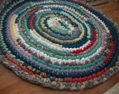 "Oval Multicolor Rag Rug 38"" x 35""  Handcrafted Rugs"