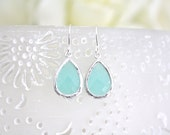 Mint Earrings, Mint Drop Earrings, Bridesmaids Jewelry, Blue Wedding, Gifts for her