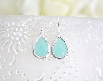 Mint Earrings, Mint Drop Earrings, Bridesmaids Jewelry, Blue Wedding, Gifts for her, Light Blue Wedding, Best Friend Gift, Mothers Day Gift