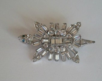 Trifari Turtle 1940s Unsigned Phillippe Rhinestones