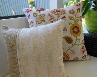 Beige Pillow - Golden Pillow - Stripe Pillow - Leaves Pillow - Beach Pillow - Decorative Accent Throw Pillow - 15 x 15 inch Reversible