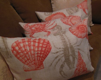 Outdoor Sea Life Pillow - Indoor / Outdoor Fabric - Sea Creatures - Reversible Pillow -  Coral Salmon Orange - You Select Size