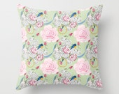 Outdoor Pillow, Shabby Chic Bluebirds and Roses