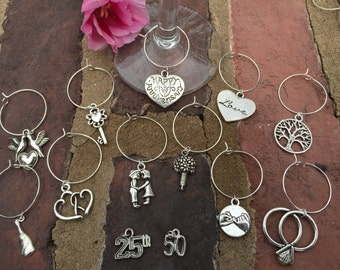 Set of 12 Anniversary / Bridal shower wedding wine glass charms for the wine lover in your life....