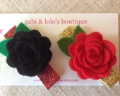 Holiday Felt Rose Hair Clips - Holiday Sparkle, Glitter, Christmas Hair Accessory - Pure Wool Felt, Handmade - Set of 2