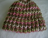Infant Baby Girl to Toddler Knit Hat Loom Knit Little Girl Warm Hat Pink Camouflage Pink Camo