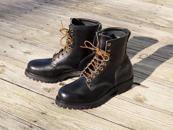 mens boots vintage 70s knapp work boots black leather logger